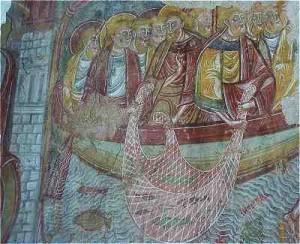 Fresque Romane du cloitre de l'Abbaye de la Trinité à Vendôme